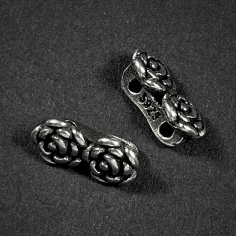 Разделитель на 2 нити Роза 11х5,4 мм серебро 925