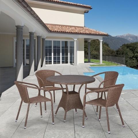 Комплект плетеной мебели T197AT/Y137C-W56 Light brown 4Pcs