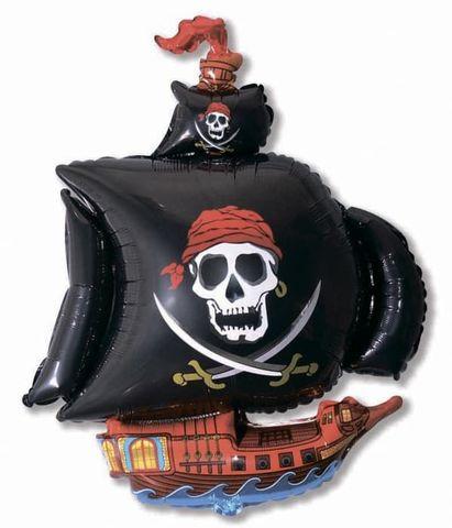 Фольгированный шар Корабль пиратский черный