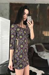 Гала. Молодіжна обтягуюча сукня міні. Яскравий візерунок