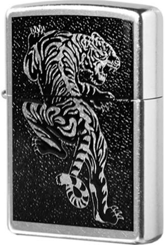 Зажигалка Zippo Tigre с покрытием Brushed Chrome, латунь/сталь, серебристая, матовая, 36x12x56123