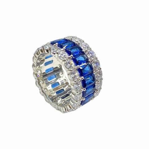 60124 - Широкое кольцо дорожка из серебра с синими и белыми цирконами