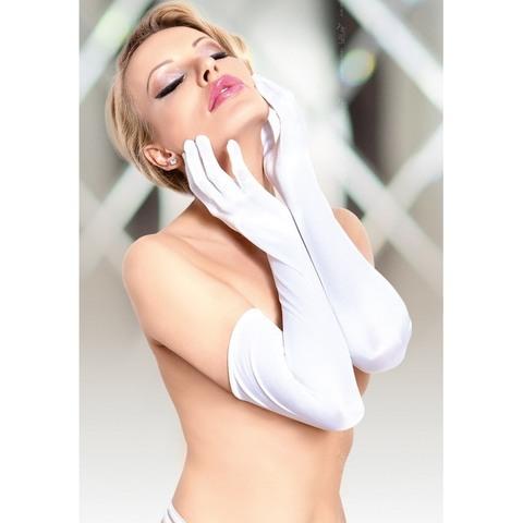 Длинные перчатки из блестящего белого сатина