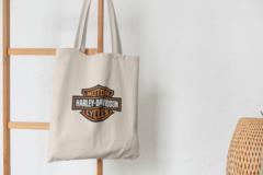 Сумка-шоппер с принтом Harley-Davidson (Харли-Дэвидсон) бежевая 003