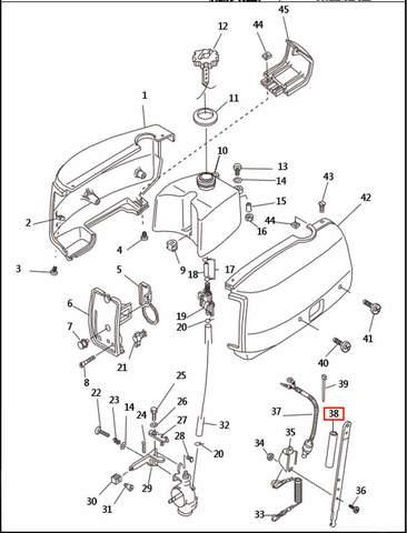 Ручка румпеля  для лодочного мотора T2,5 SEA-PRO (1-38)
