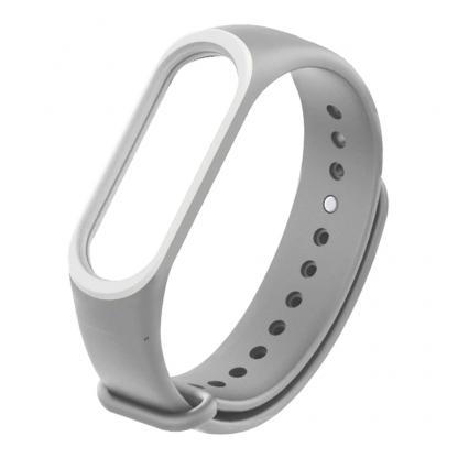 Силиконовый ремешок для Xiaomi Mi Band 3 (серый с белым)