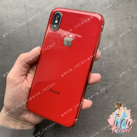 Чехол iPhone X/XS Glass Silicone Case Logo /red/