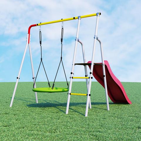 Детский спортивный комплекс для дачи ROMANA Лето (с фоном)