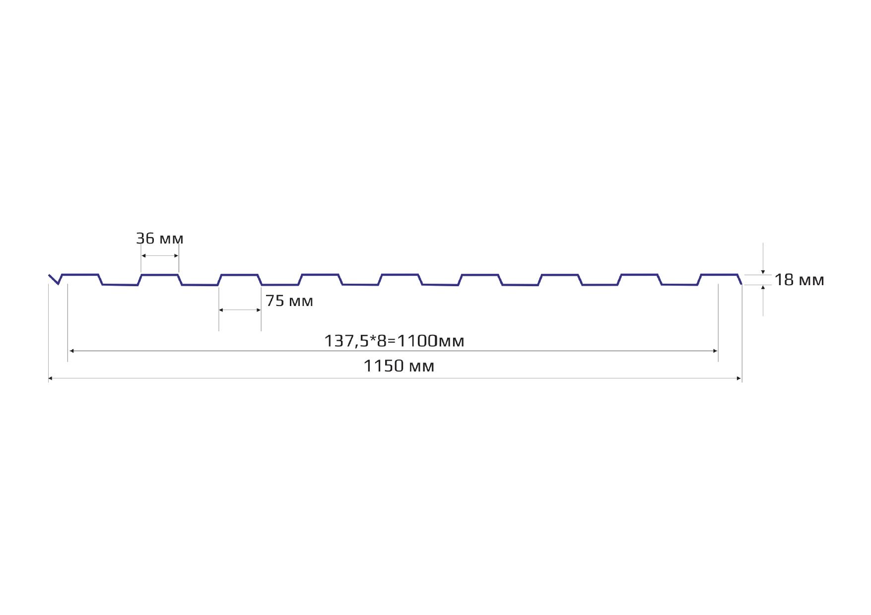 Профилированный лист МП20 (НС18), полиэстер матовый ,0.45мм