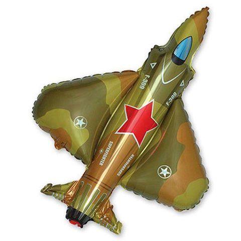 Воздушный шар фигура Самолет Истребитель Милитари, 99 см