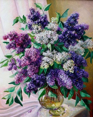 Алмазная Мозаика 30x40 Букет белой и фиолетовой сирени в вазе у окна