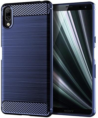 Чехол Sony Xperia L3 цвет Blue (синий), серия Carbon, Caseport