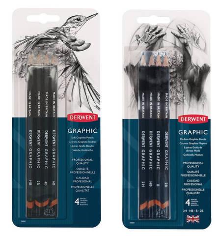 Набор чернографитных карандашей GRAPHIC SOFT 4шт 6B/4B/2B/HB в блистере
