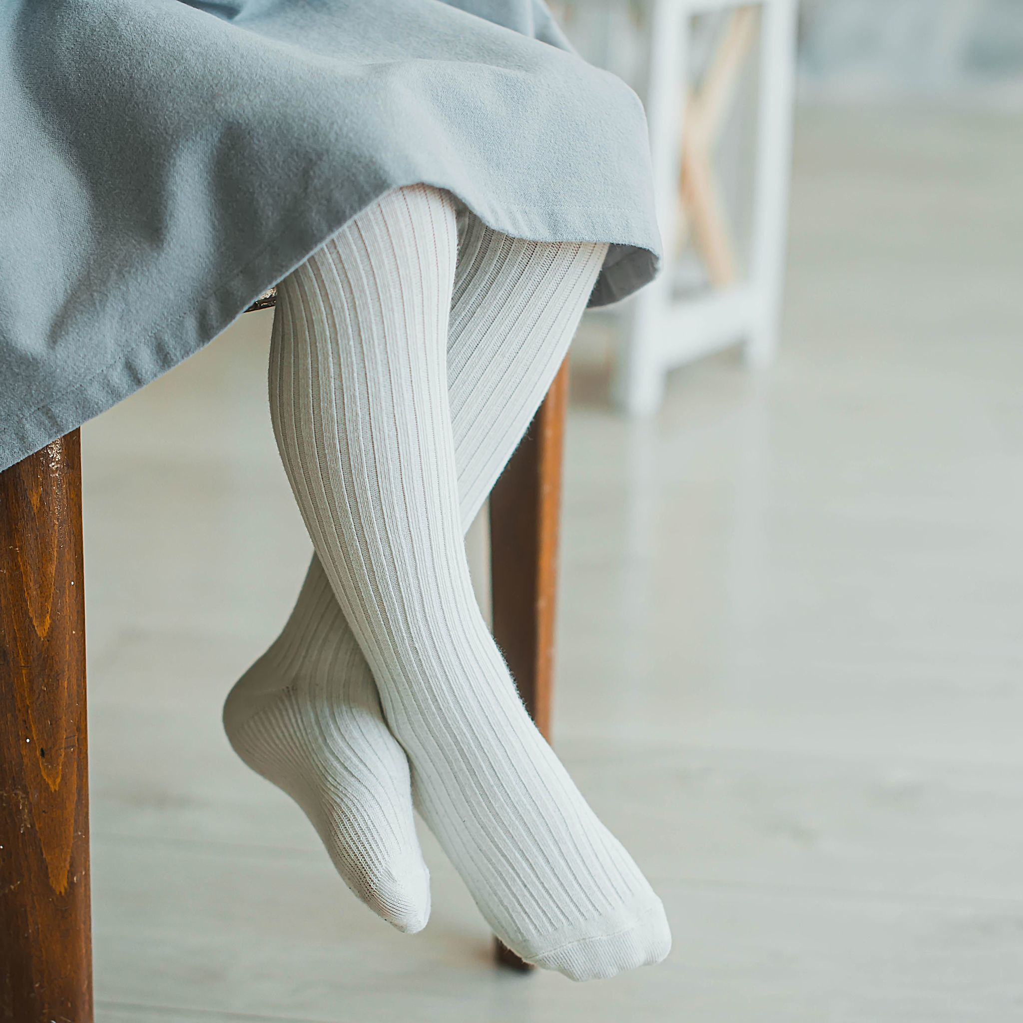 Ribbed tights - Ivory