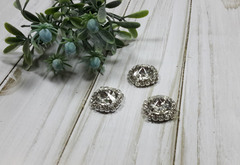 Кабошон - украшение со стразами в серебряной оправе, круглый, 20 мм, 1 шт.