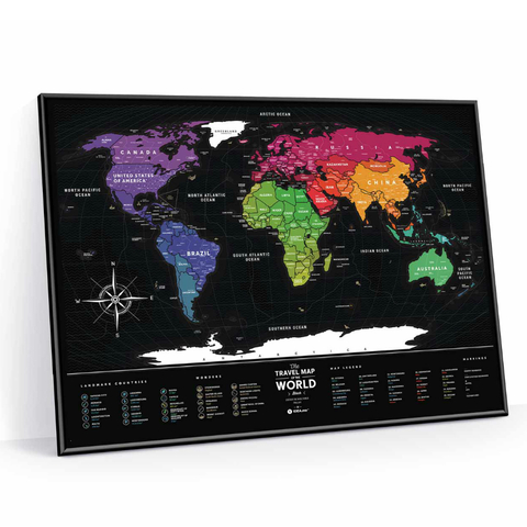 Cкретч-карта мира Travel Map Black World в металлической раме