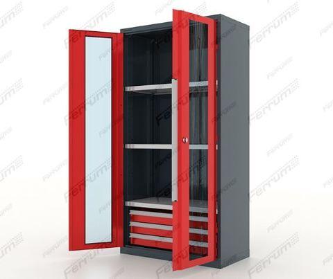 Шкаф инструментальный металлический с 3 ящ./3 полки, двери со стеклом, 13.1332, серия
