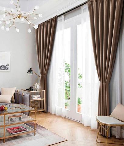 Комплект штор рогожка Раймонда коричневый
