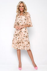"""<p>Платье """"Океан любви"""" свободного кроя, лёгкое, воздушное. Идеально подходит для любого типа фигуры. Изящный волан на рукавах и по низу придаст романтику Вашему образу. Платье на подкладе, с поясом. Длина изделия во всех размерах: 102см.</p>"""