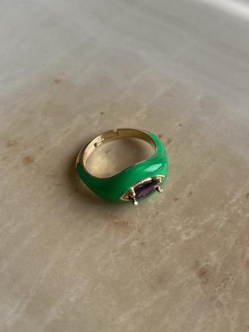 Кольцо Алиен зеленое, позолота