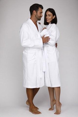 Махровый банный  халат унисекс 363 белый EVAТекс (Россия)