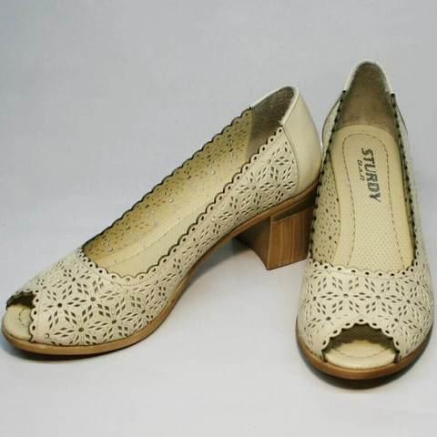 Летние туфли на толстом каблуке Sturdy Shoes 87-43 24 Lighte Beige.