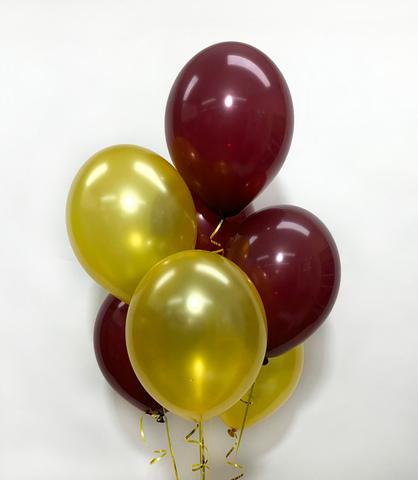 Воздушные шары с гелием золотисто-бордовые
