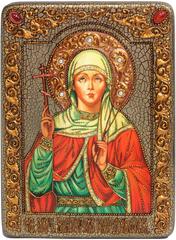Инкрустированная Икона Святая мученица Виктория Кордувийская 29х21см на натуральном дереве, в подарочной коробке
