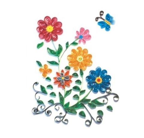 Квиллинг Бабочка и цветы/М-8012
