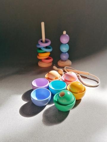 Монтессори набор 23 предмета пастельный