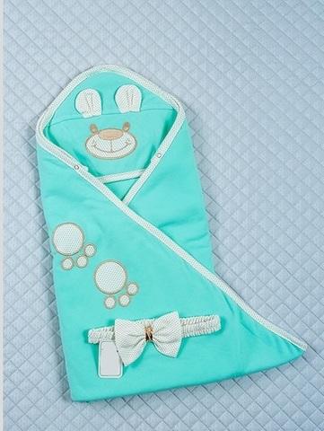 Летний конверт одеяло на выписку Мишутка бирюза