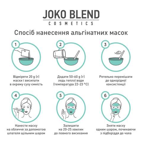 Альгінатна маска заспокійлива з екстрактом зеленого чаю і алое вера Joko Blend 200 г (3)