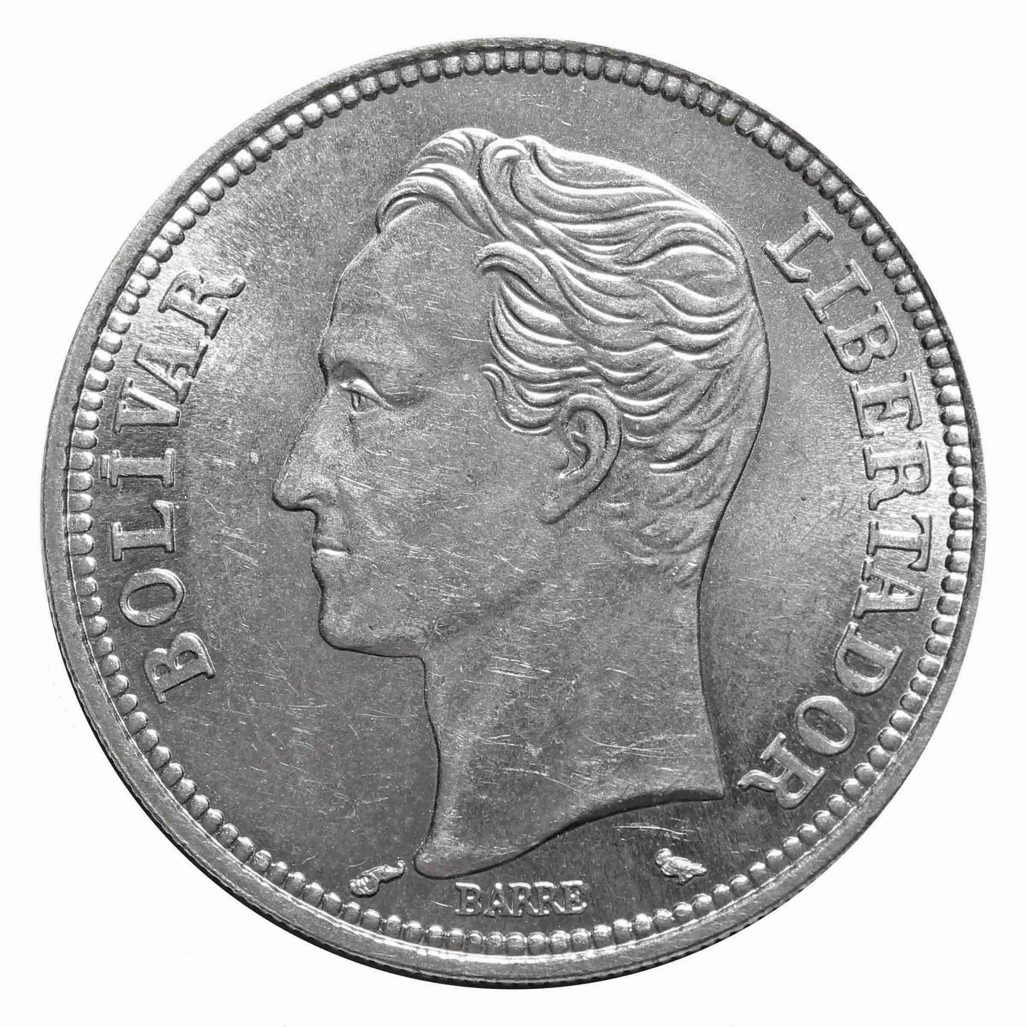 2 боливара 1965 г. Венесуэла XF-AU Серебро