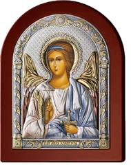 Серебряная икона Ангел Хранитель (цветной лак, повышенное качество!)