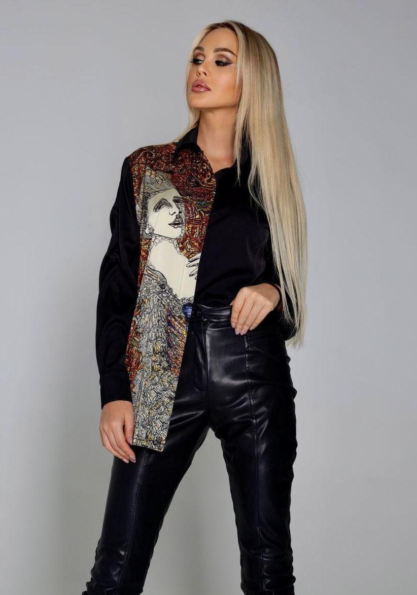 Шелковая рубашка черного цвета с принтом