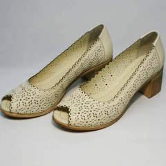 Бежевые туфли на устойчивом каблуке летние Sturdy Shoes 87-43 24 Lighte Beige.