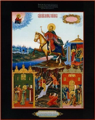 Икона святой Игорь Черниговский со сценами жития на дереве на левкасе мастерская Иконный Дом