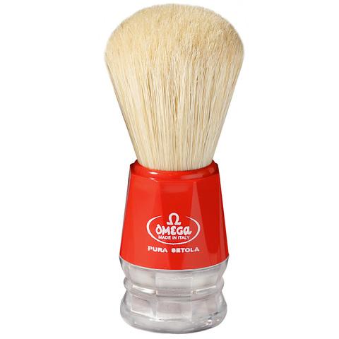 Помазок для бритья Omega натуральный кабан красный 10018