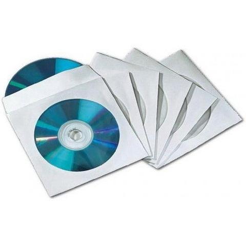 Конверт с окошком для СD диска белый