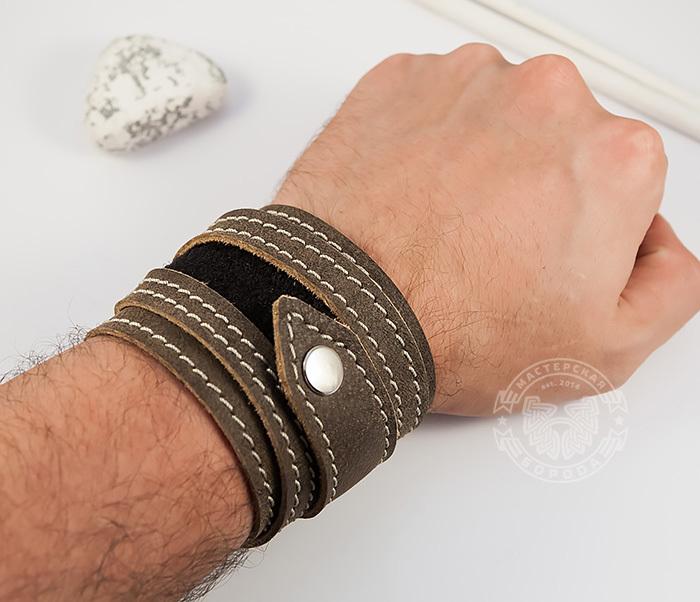 BL425-2 Широкий мужской браслет из кожи, ручная работа,  «Boroda Design» фото 05