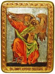 Инкрустированная икона Святой апостол и евангелист Иоанн Богослов 29х21см на натуральном дереве в подарочной коробке