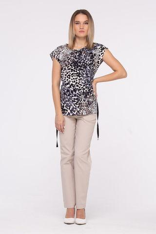 Фото полуприлегающая летняя блуза с анималистичным принтом - Блуза Г700-141 (1)
