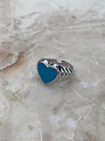Кольцо Лавли из серебра с голубой эмалью