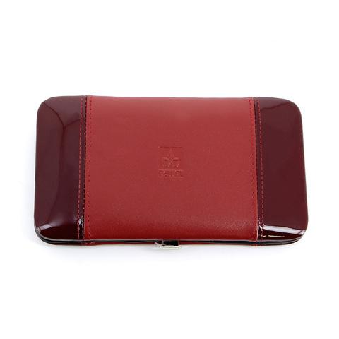 Маникюрный набор Dewal, 8 предметов, цвет красный, кожаный футляр