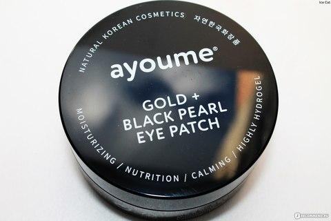Патчи для глаз от темных кругов с золотом и черным жемчугом AYOUME GOLD+BLACK PEARL EYE PATCH