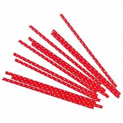 Трубочки красные в белую точку 12шт