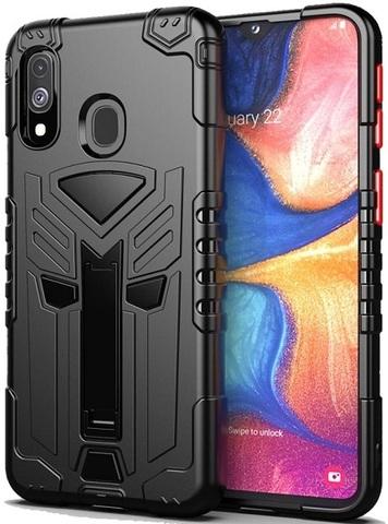 Чехол для Samsung Galaxy A20e серии Dual X с магнитом и складной подставкой, черного цвета от Caseport