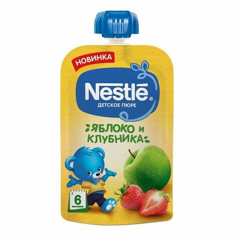"""Пюре """"Nestle"""" Яблоко Клубника пауч 90 г"""