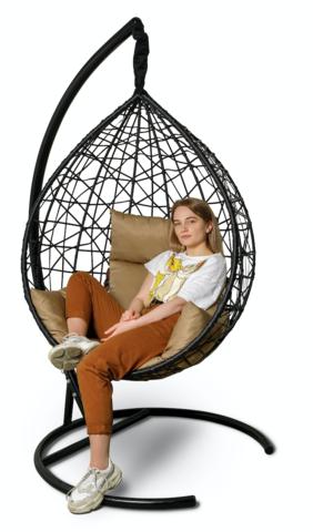 Подвесное кресло-кокон ALICANTE черное + каркас + бежевая подушка