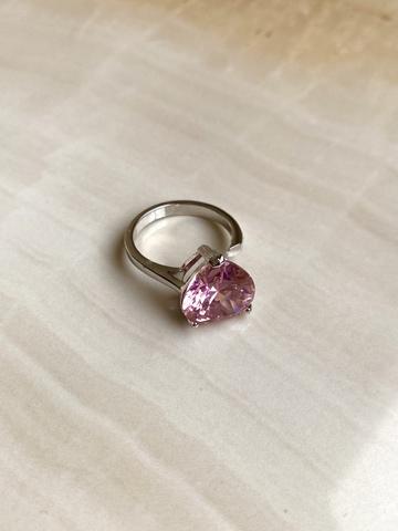 Кольцо Аквахарт с розовым сердцем, серебряный цвет